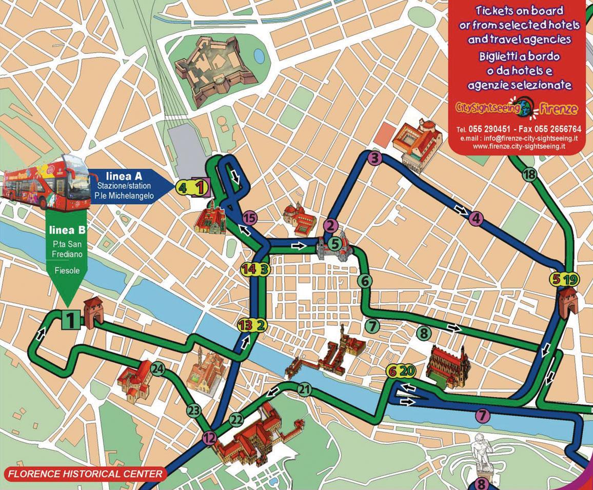 Carte de Florence : Plan touristique Florence