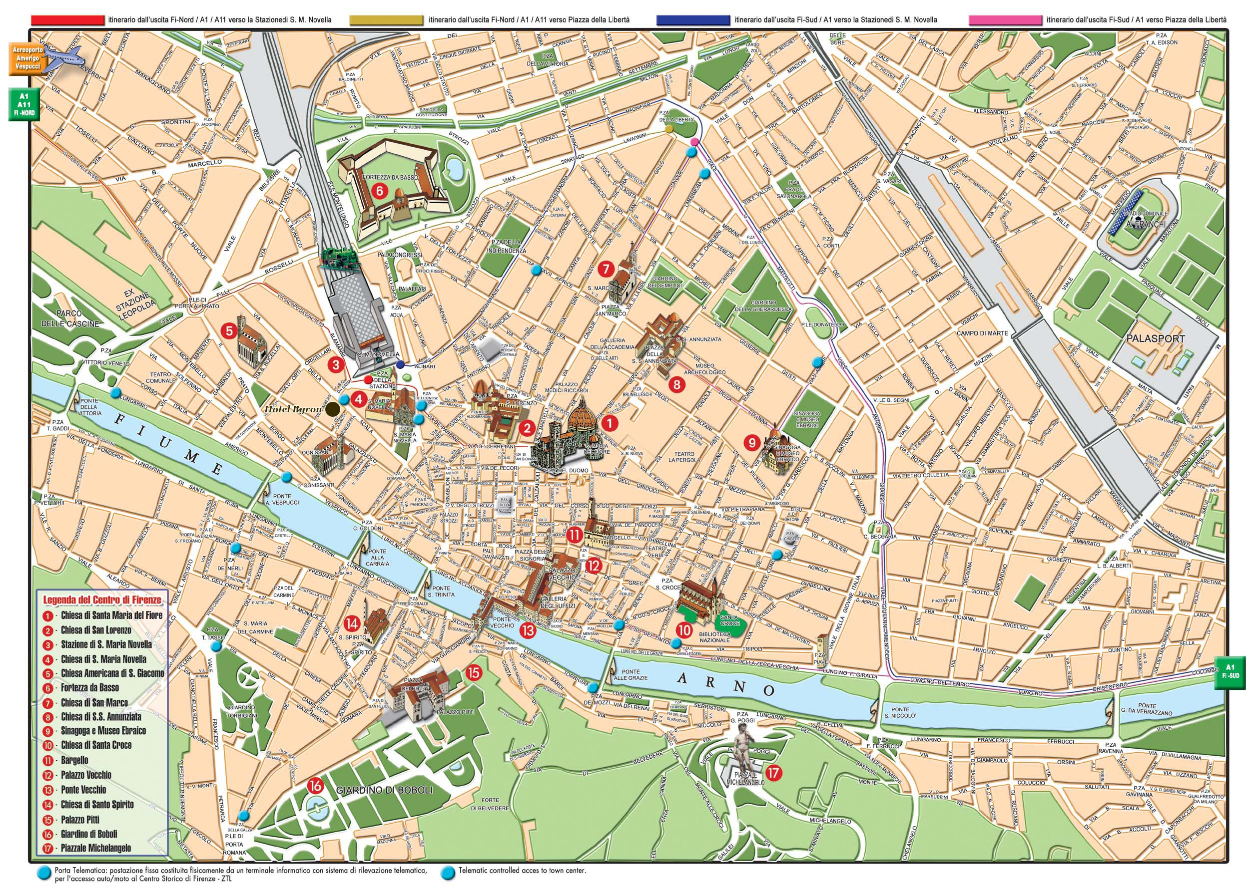 Florence tourist map florence italy mappery for Oficina turismo sevilla