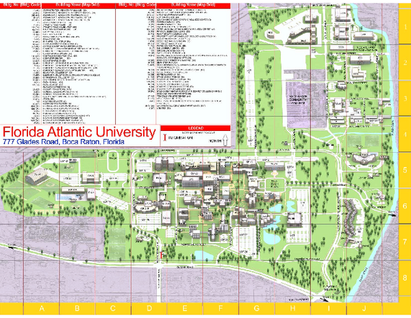 Florida Atlantic University Boca Raton Campus Map Boca Raton