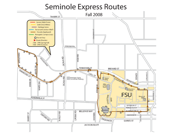 Florida State University Seminole Express Bus Map Florida State