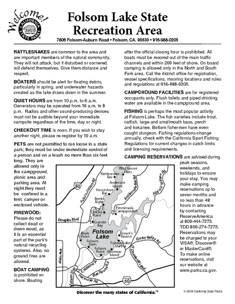 Folsom Lake State Recreation Area Campground Map