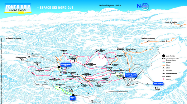 Font d'Urle Nordic Ski Trail Map