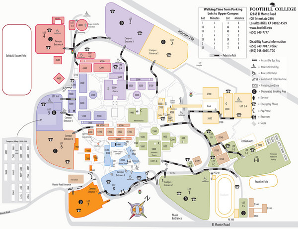 Foothill College Campus Map El Monte Rd Los Altos Hills CA