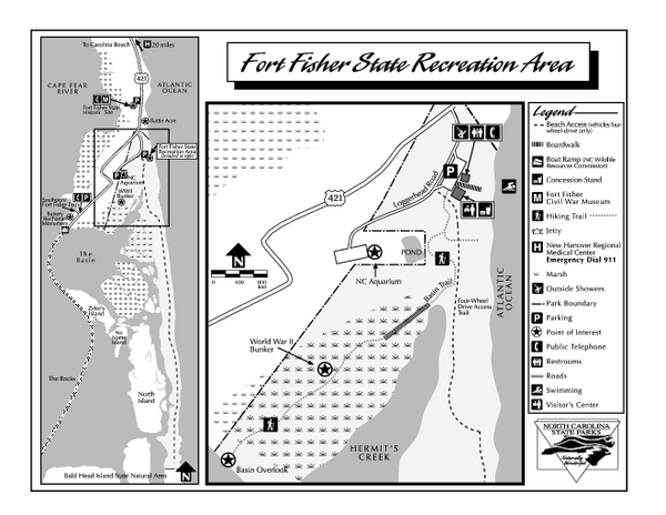 Fort Fisher State Recreation Area map