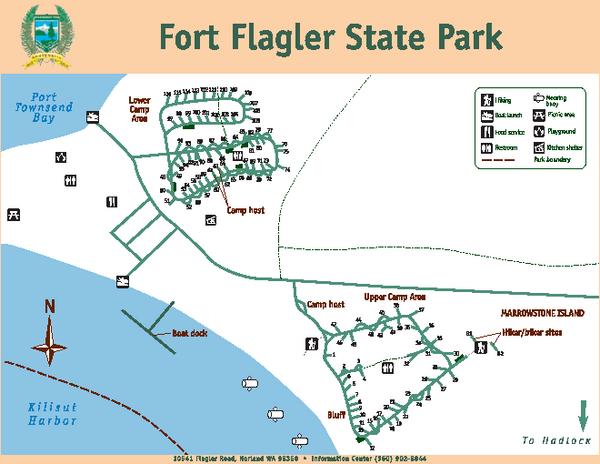 Camping Washington State Map.Fort Flagler State Park Map 10541 Flagler Road Norland Wa 98358