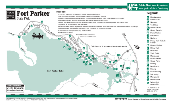 Fort Parker, Texas State Park Facility and Trail Map