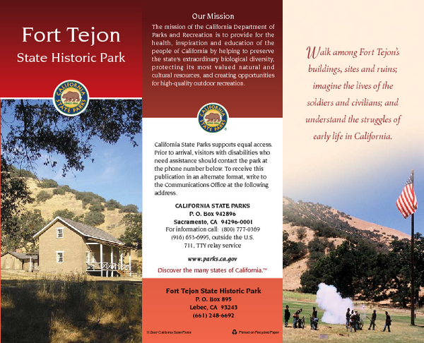 Fort Tejon State Historic Park Map