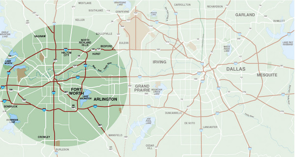 Fort Worth Surrounding Area Map - Fort Worth TX • mappery