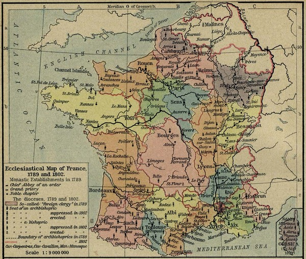 France Ecclesiastical Map 1789-1802
