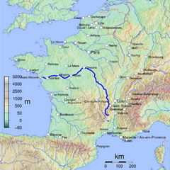 France Map with river Loire Highlighted