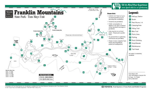 Franklin Mountains, Texas State Park Facility and Trail Map