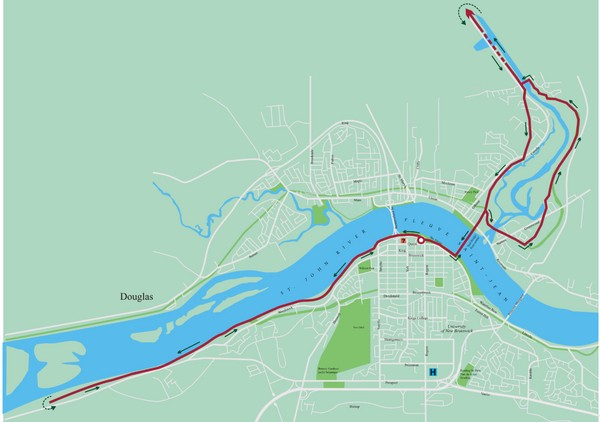 Fredericton Marathon Course Map 2007