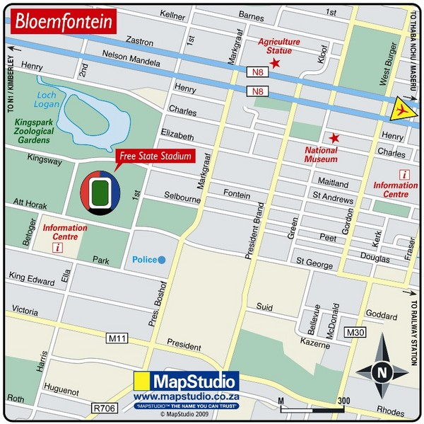 Free State Stadium, Bloemfontein, South Africa Map