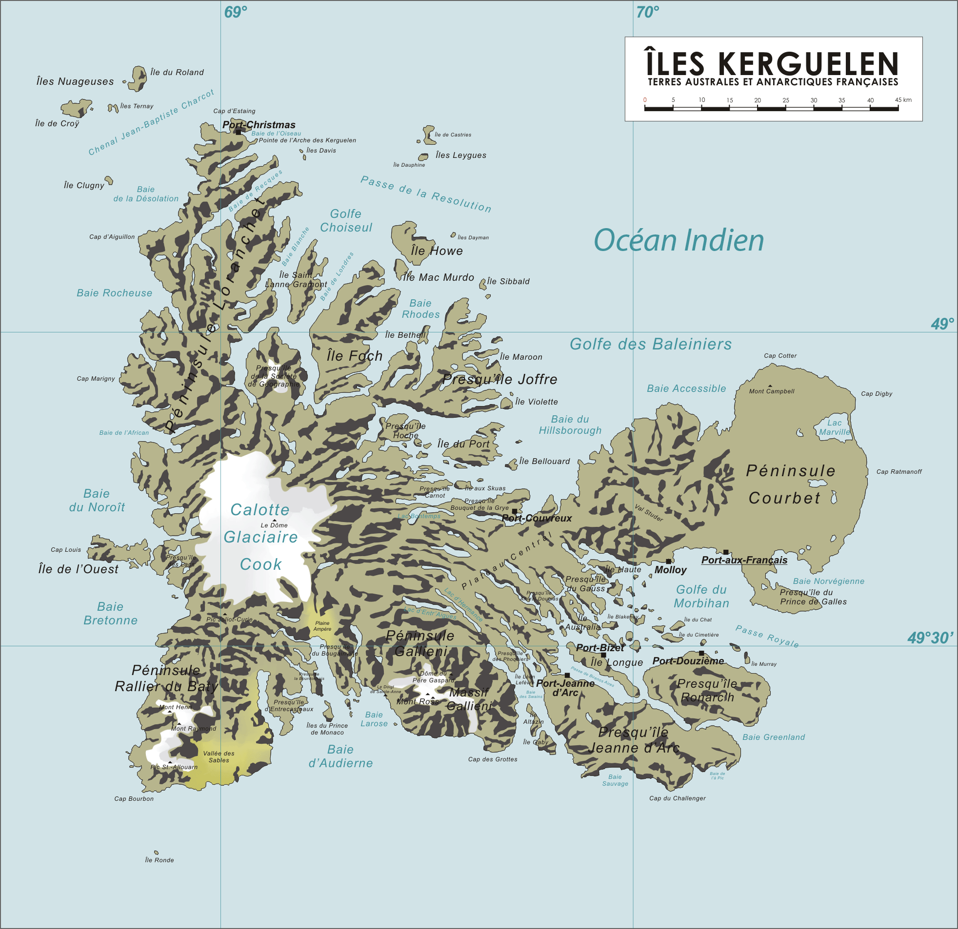 'Kerguelen Island land use Map' from the web at 'http://www.mappery.com/maps/French-Southern-Territories-Map.png'