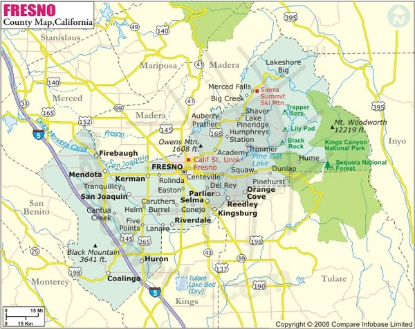 Fresno California City Map Fresno California Mappery - A map of california cities