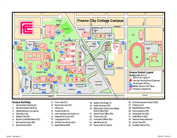 Fresno City College Campus Map 1101 E University Avenue Fresno CA