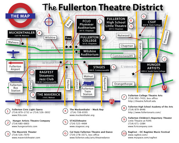 Fullerton, CA Theatre District Map