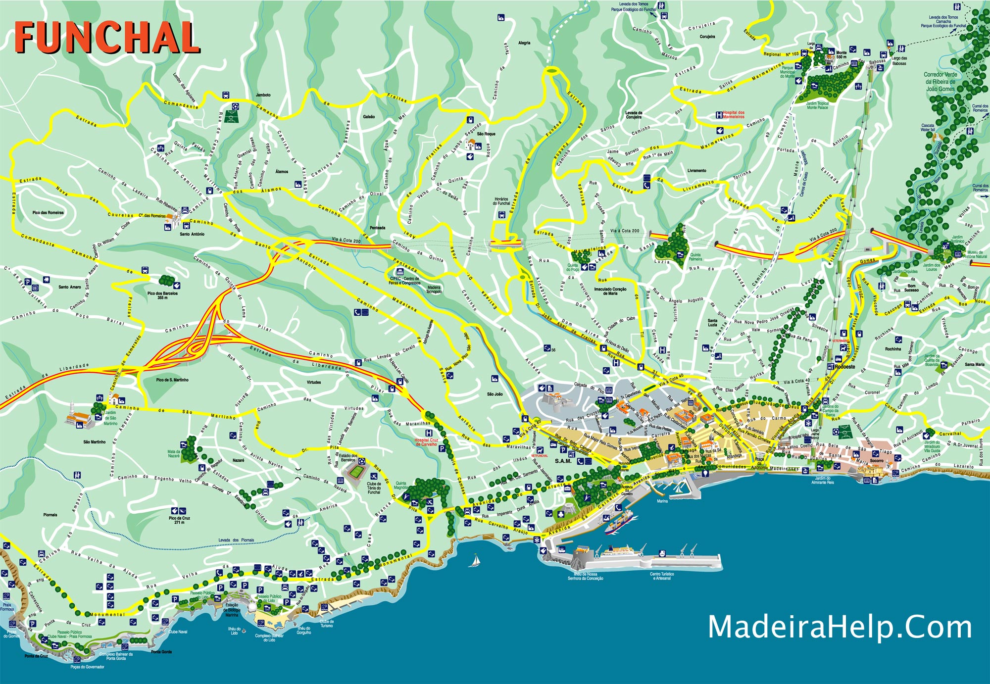 Funchal Madeira Map Funchal Madeira Mappery - Portugal map weather