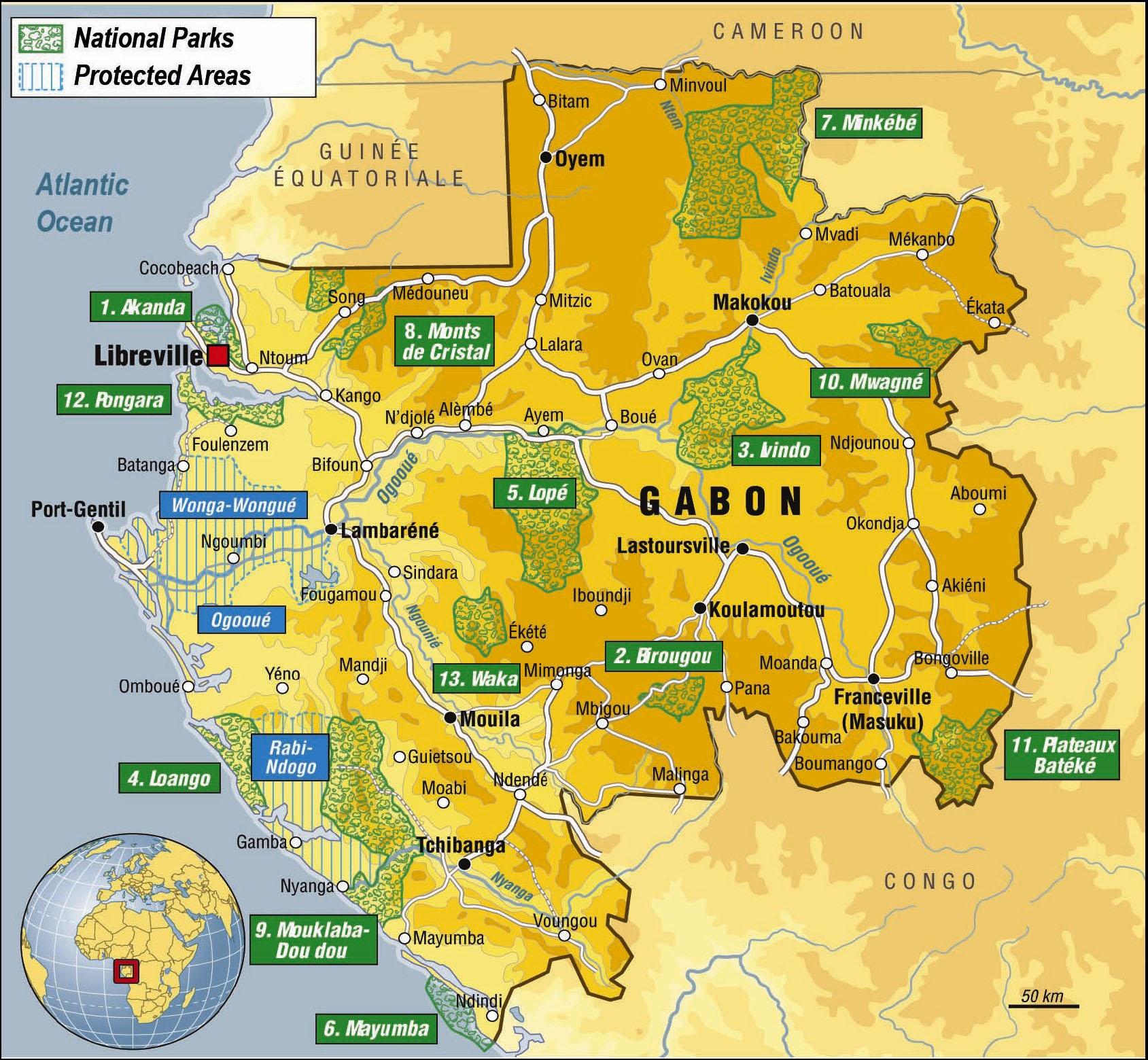 Gabon National Park Map Gabon Africa mappery