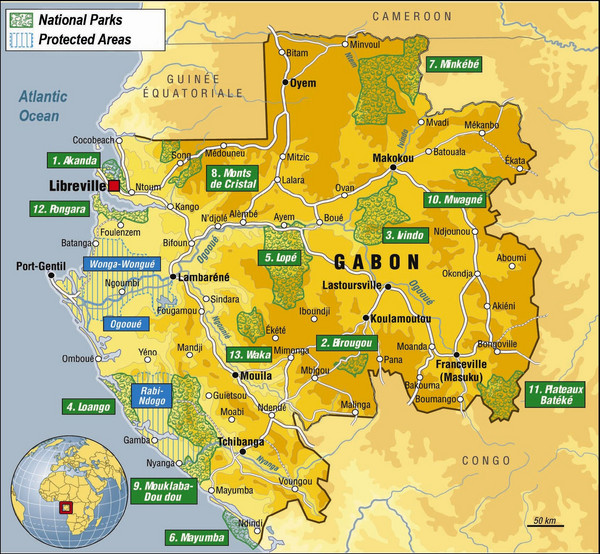 Gabon National Park Map Gabon Africa Mappery - Gabon map