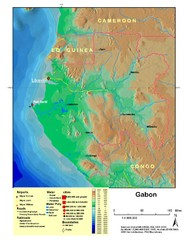 Gabon Shaded Relief Map