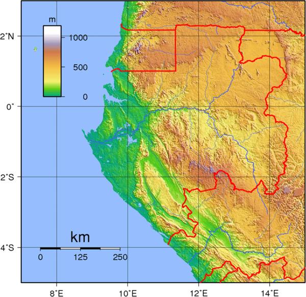 Gabon physical Map mappery