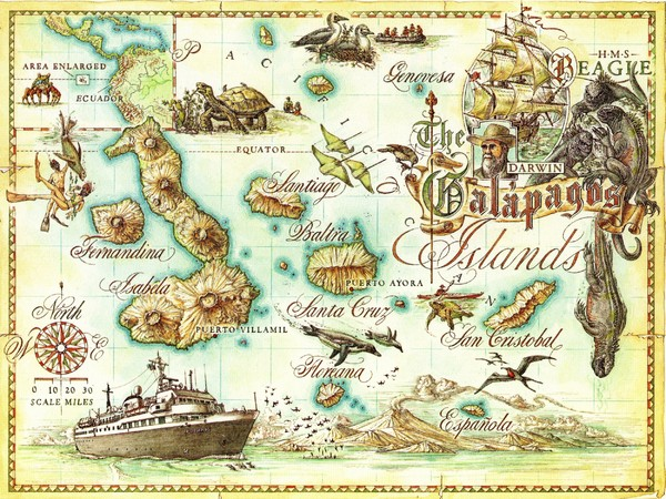 Galapagos Islands Tourist Map - Galapagos Islands • mappery