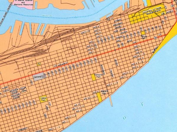 Galveston City Map Galveston Texas Mappery