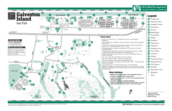 Galveston Island, Texas State Park Facility and Trail Map