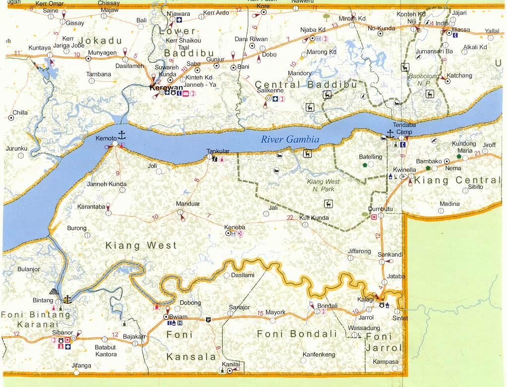 Gambia 2 Map The Gambia mappery
