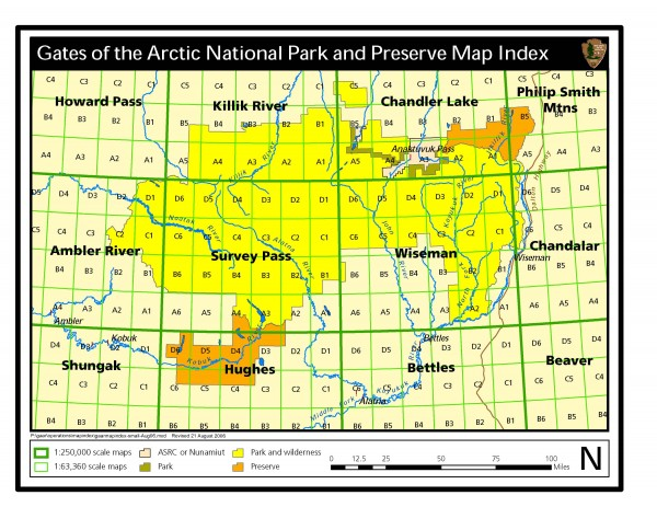 Gates of Arctic National Park and Preserve Official Park Map Gates