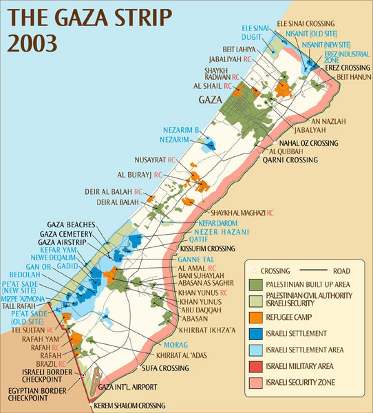 Gaza strip map of military action