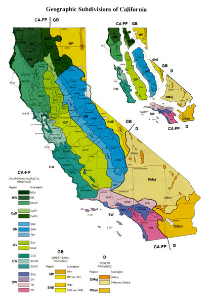Geographic Subdivisions In California Map California Mappery