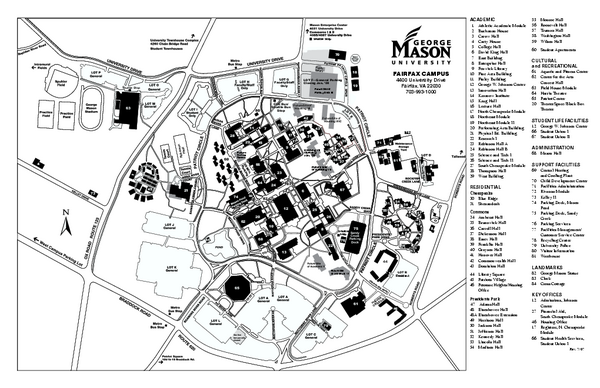 George Mason University Map Fairfax Virginia Mappery