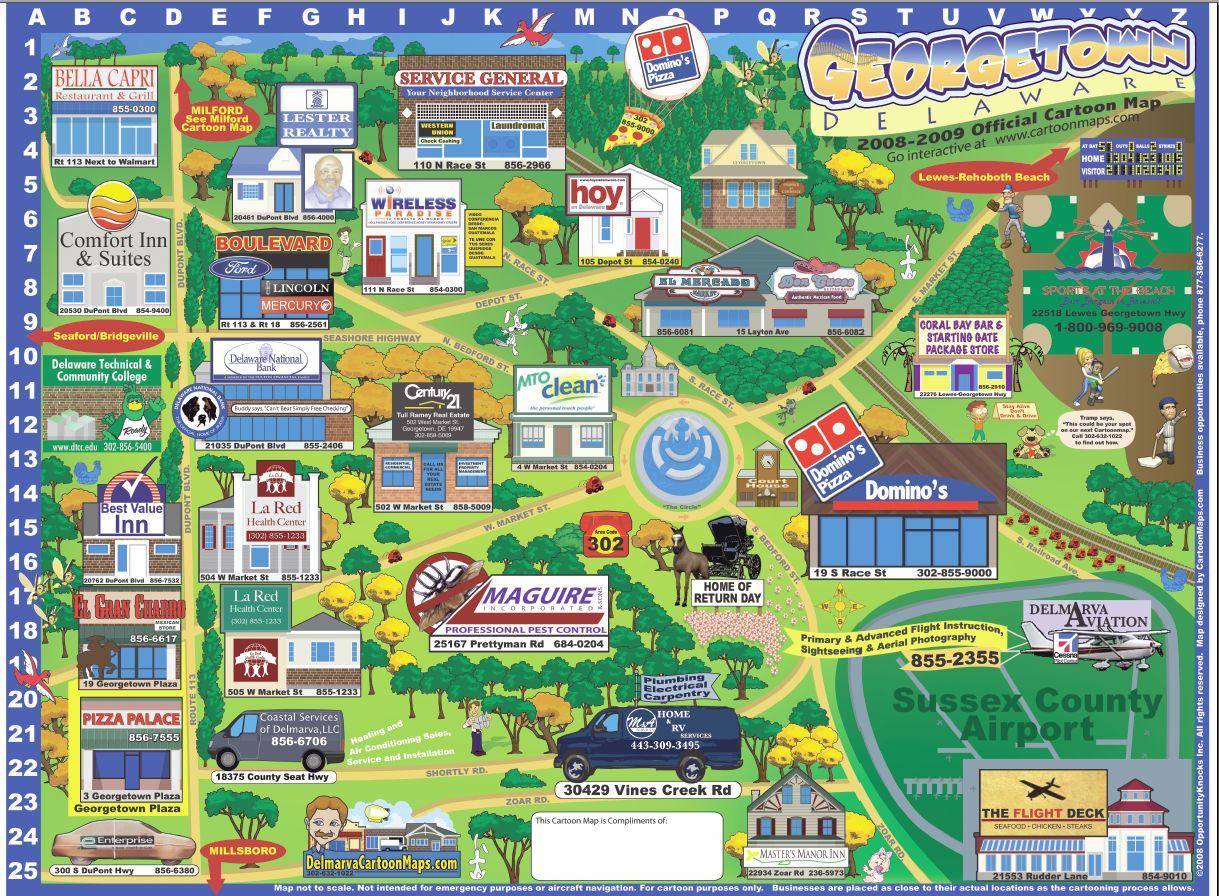 Georgetown Delaware Cartoon Map Georgetown Delaware mappery