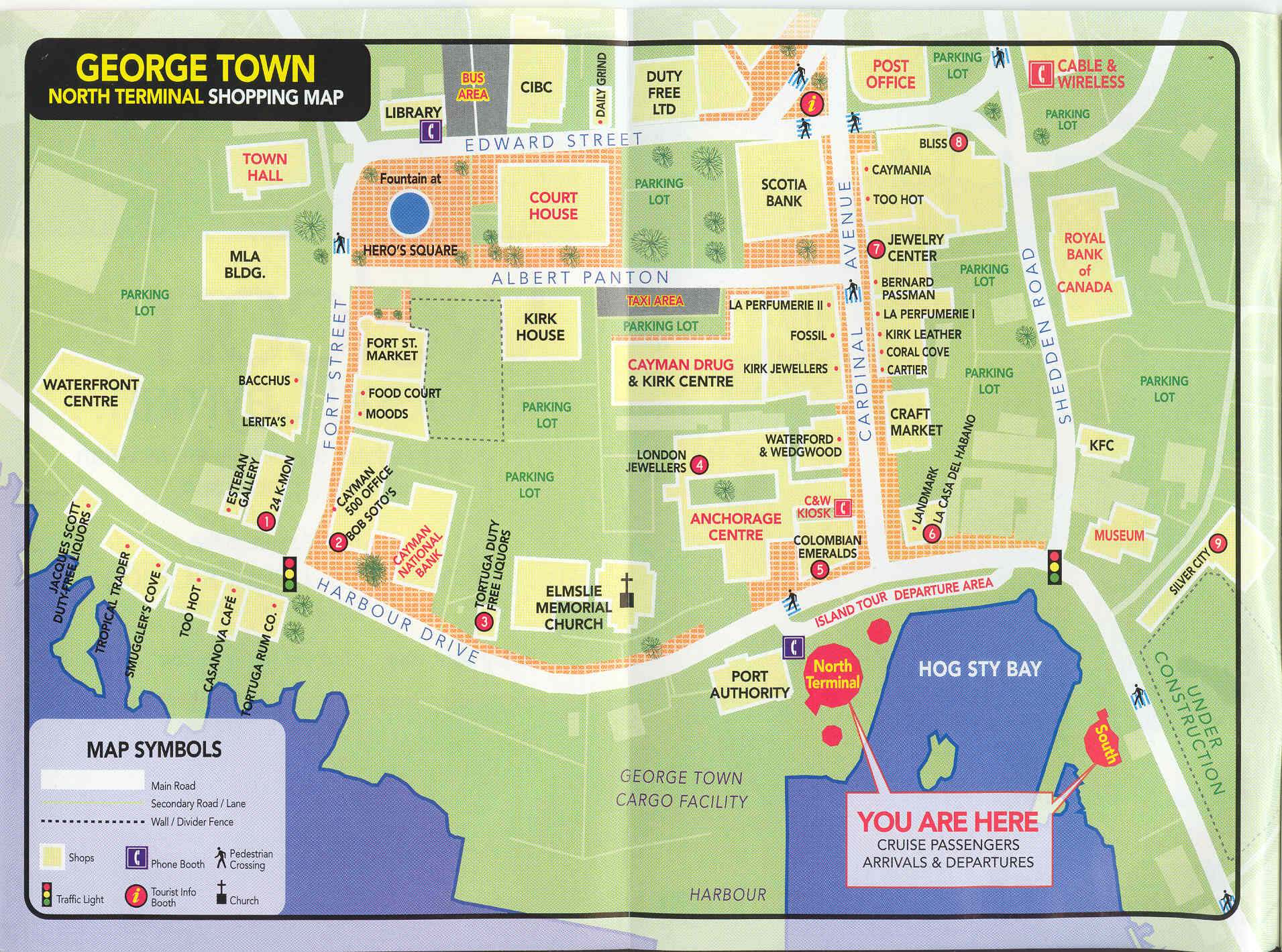 Georgetown Grand Cayman Shopping map Grand Cayman mappery
