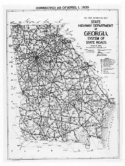 Georgia 1939 Road Map