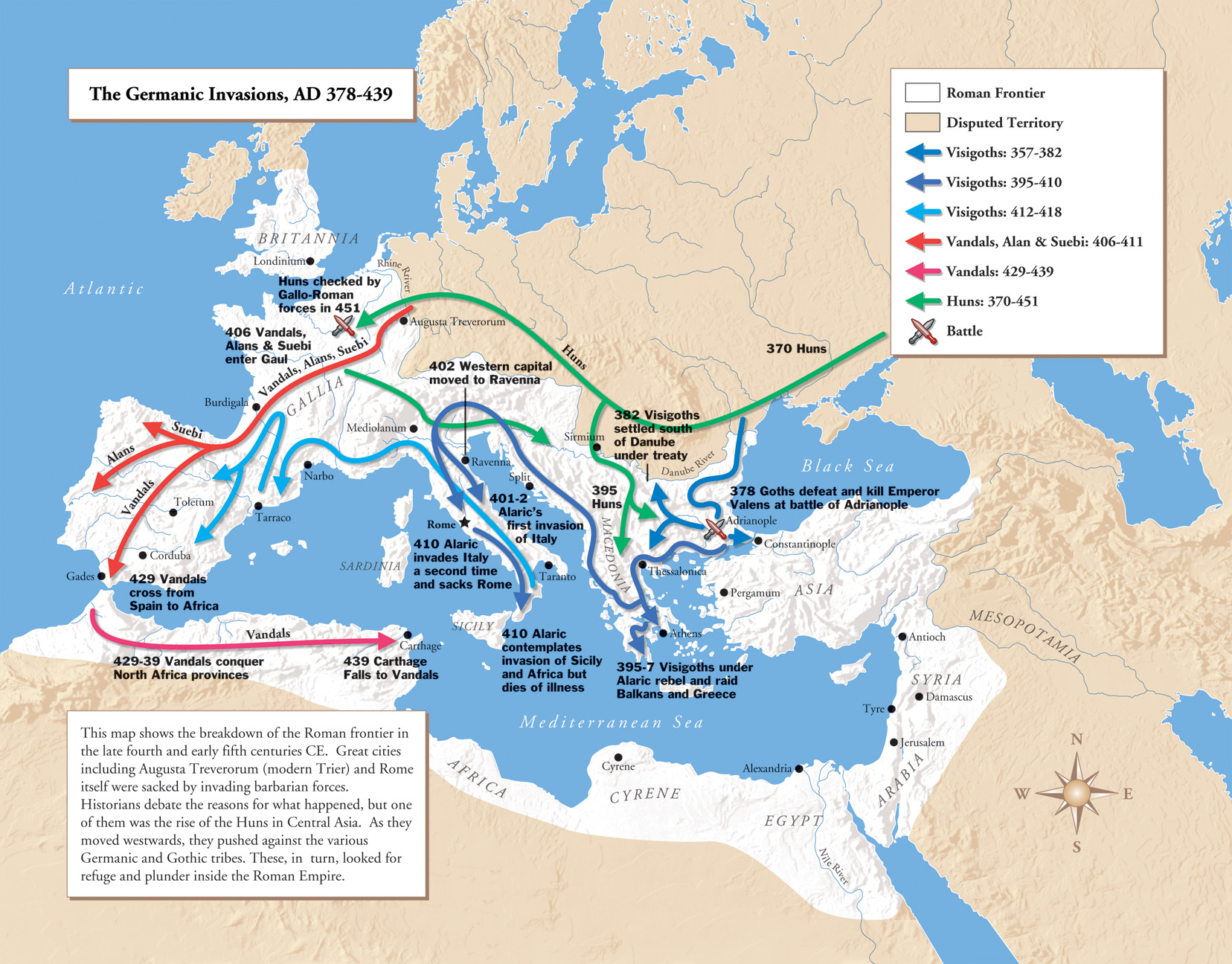 Germanic Invasions Map 378-439 - Europe • mappery