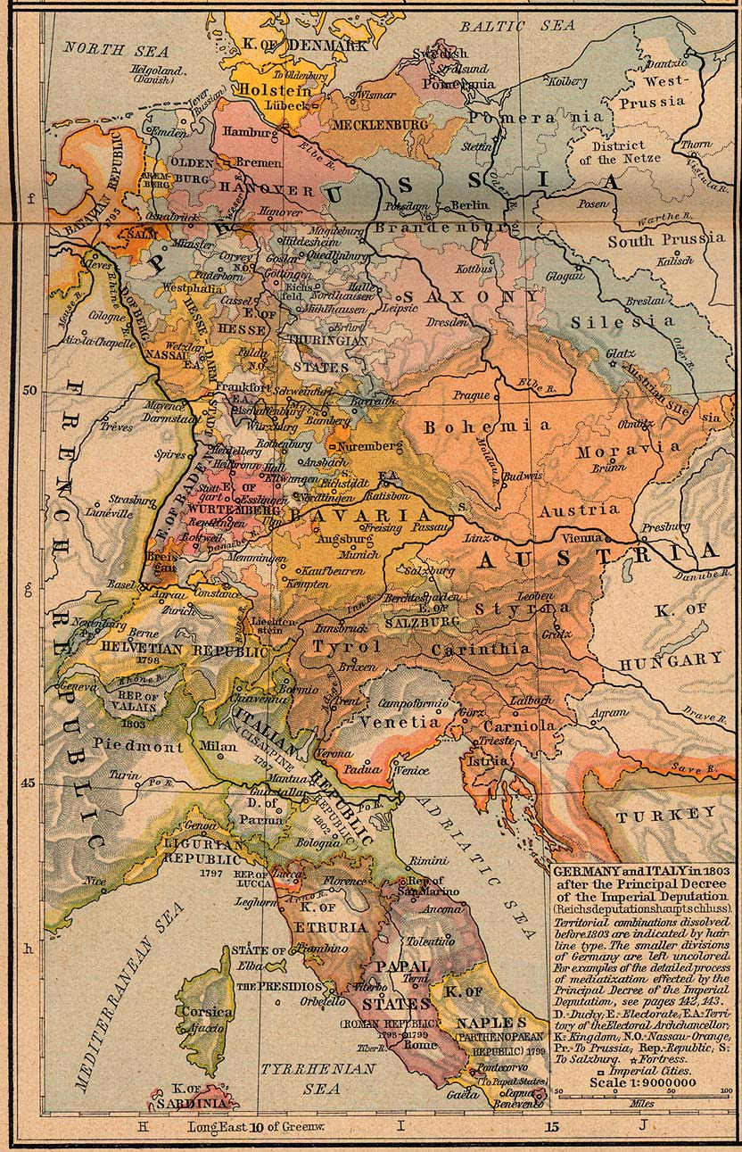 Map Of Germany And Italy.Germany Italy 1803 Map Mappery
