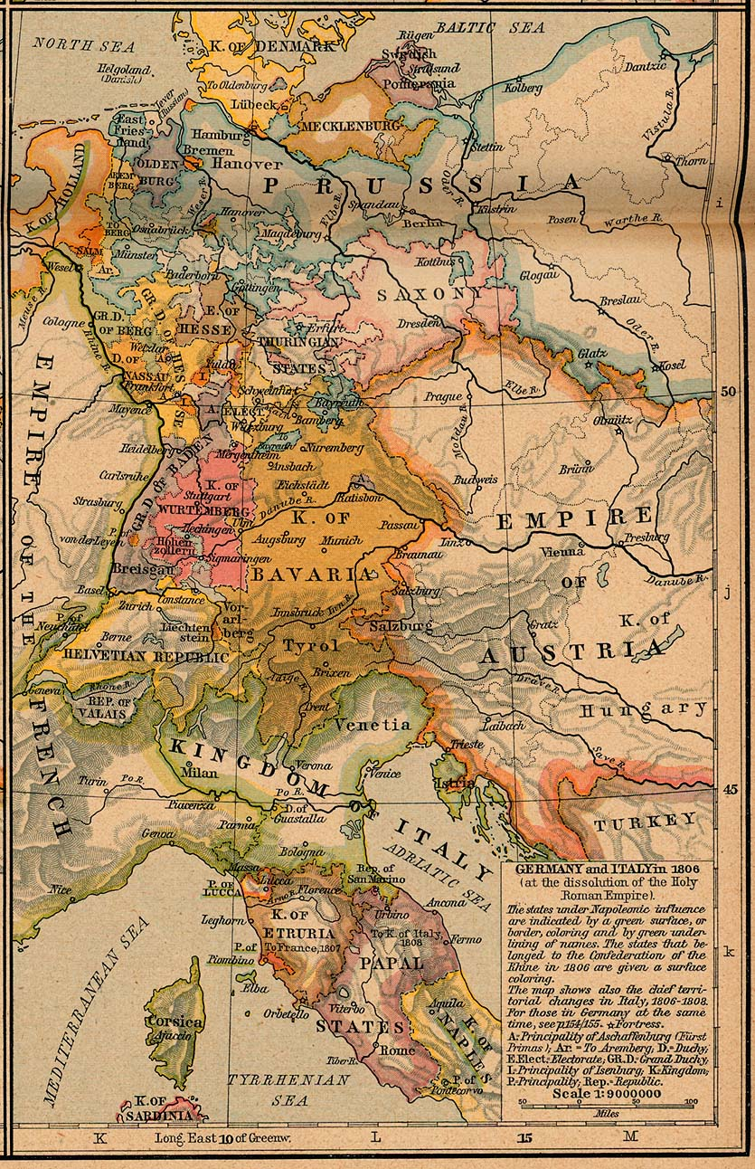 Map Of Germany And Italy.Germany Italy 1806 Map Mappery
