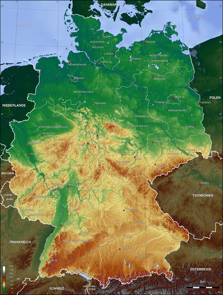 Germany Topo Map Germany mappery