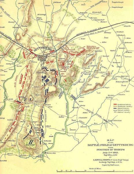 gettysburg battlefield map july 2 1863 gettysburg pa mappery gettysburg battle us map
