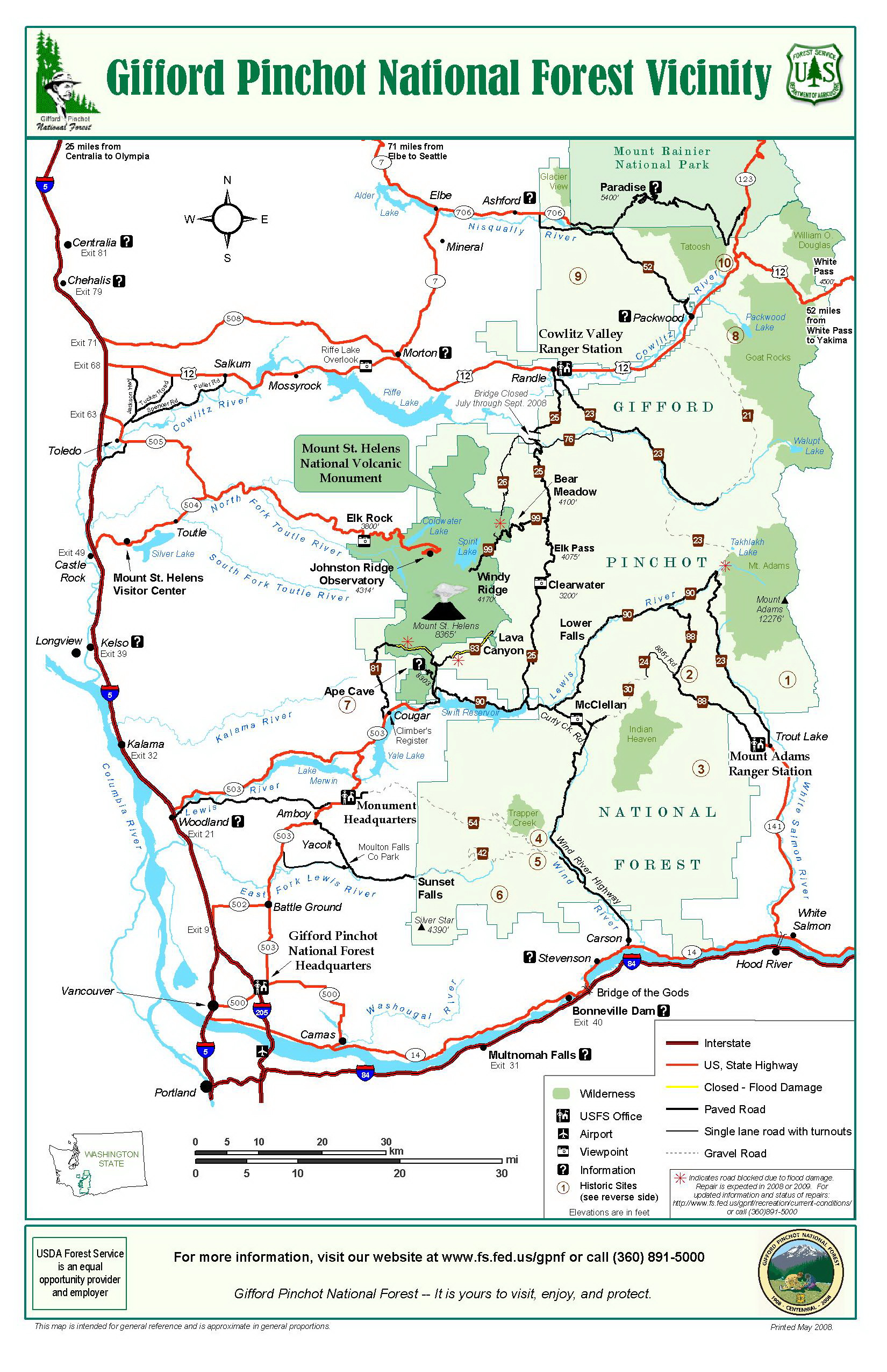 Gifford Pinchot National Forest Vicinity Map   Gifford Pinchot