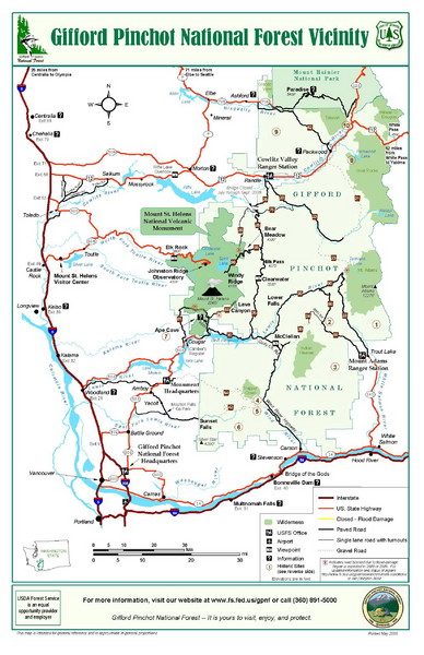 Gifford Pinchot National Forest Vicinity Map