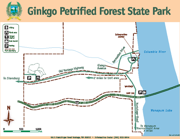 Ginkgo Petrified Forest State Park Map
