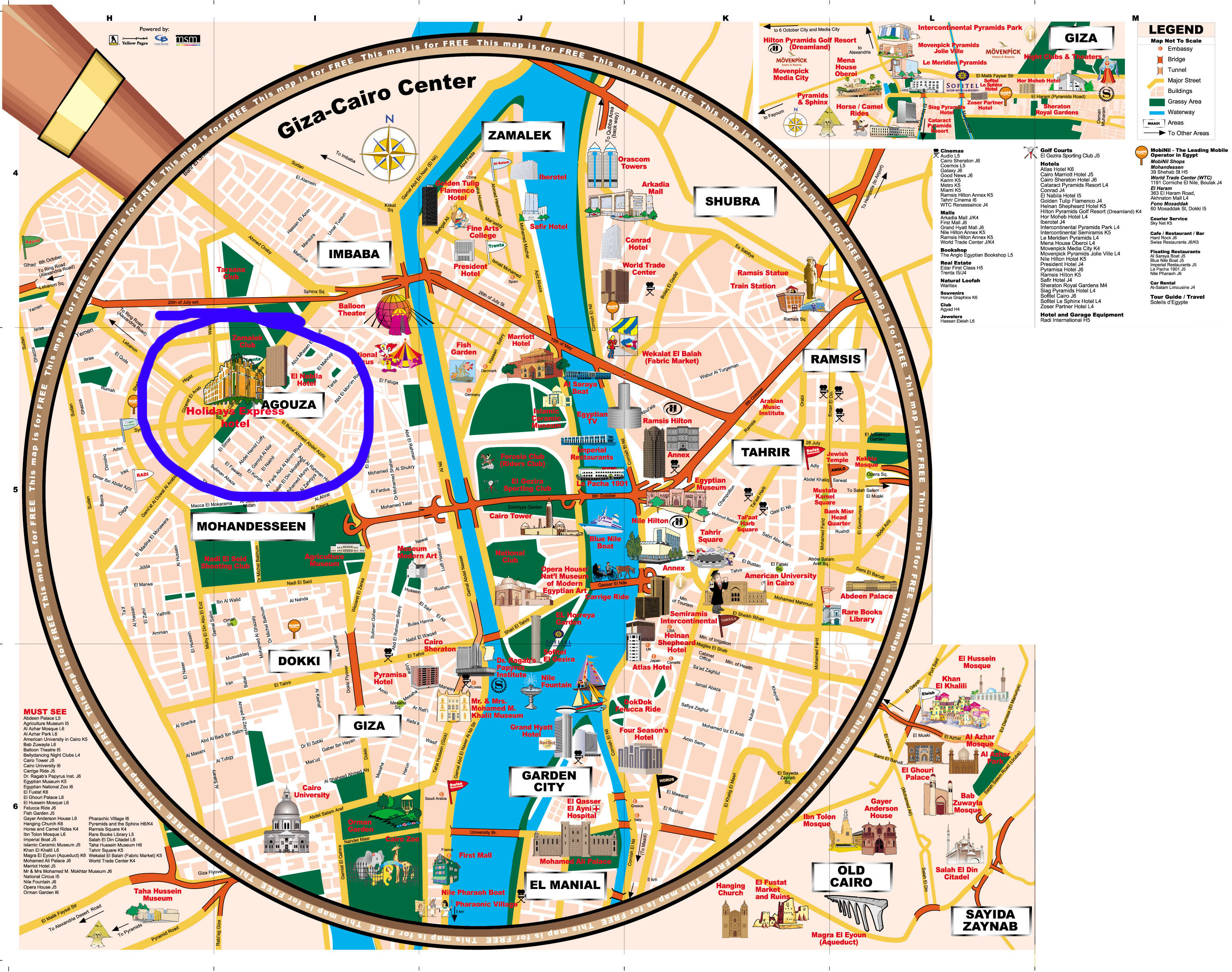 Giza and Cairo Tourist Map - Giza • mappery