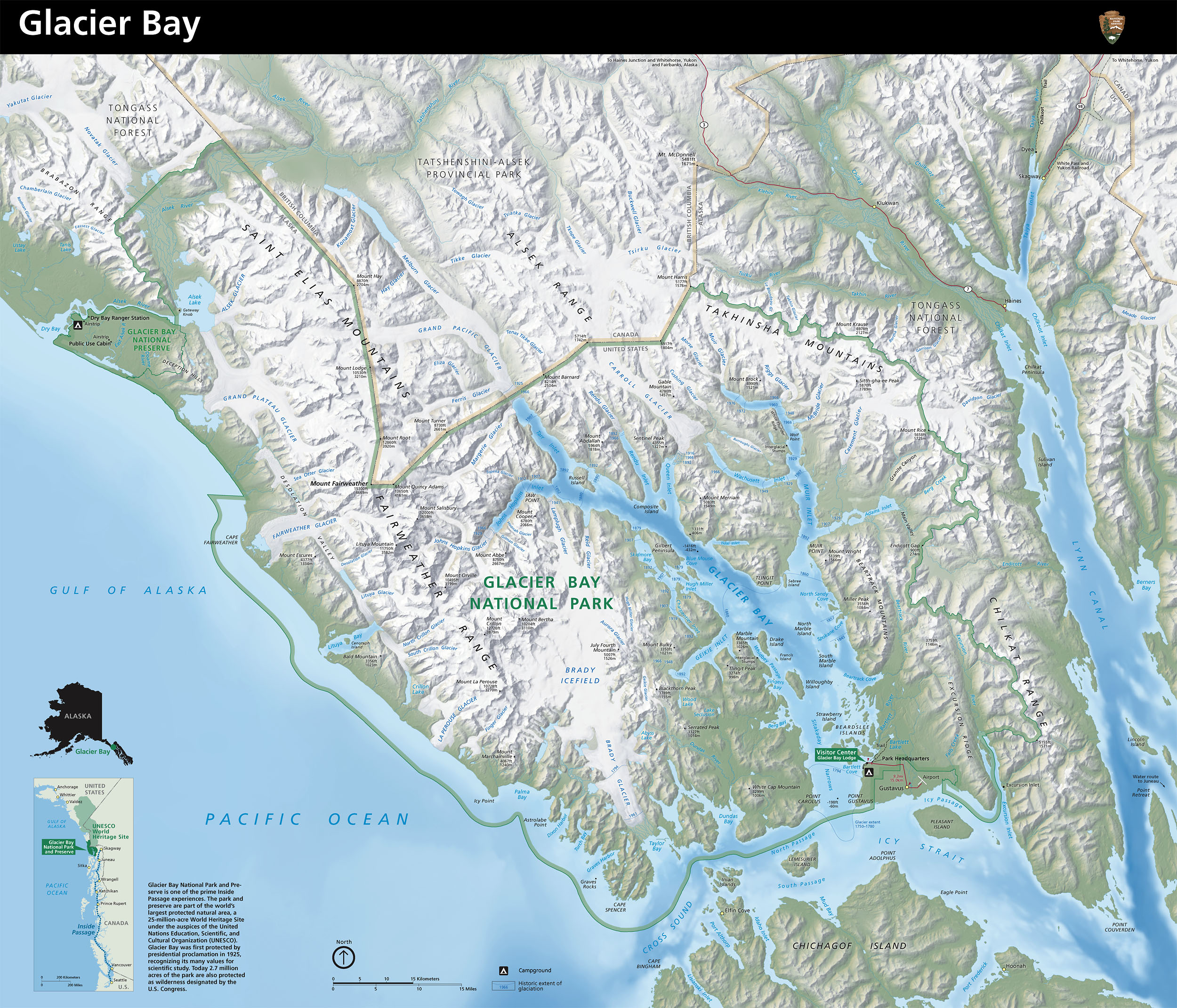 Glacier Bay National Park Map  Glacier Bay Alaska USA