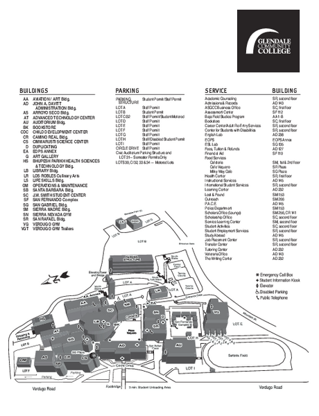 Glendale Community College Campus Map - 1500 North Verdugo Road ...