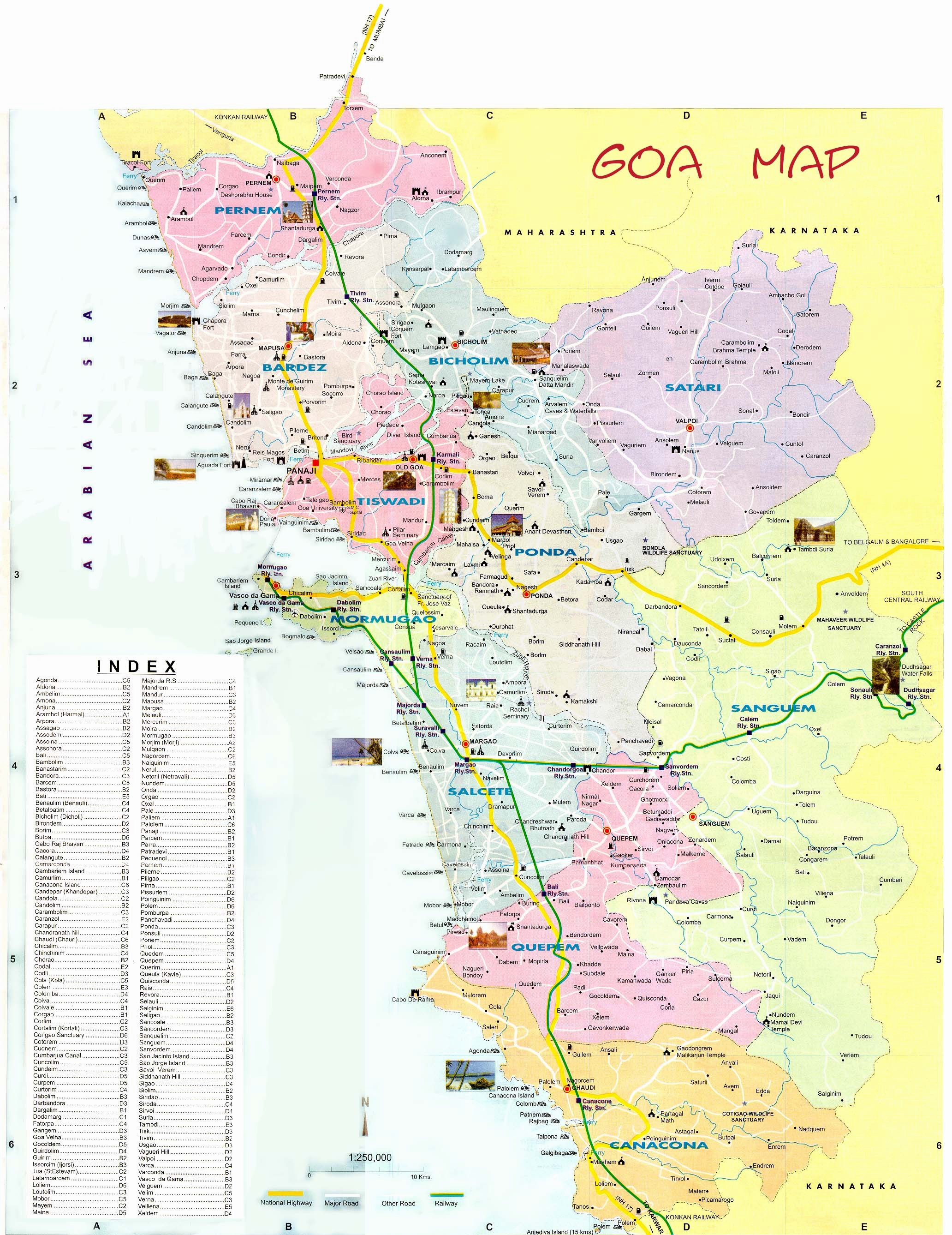 Complete Tourists Map of Goa India for Travelers – Tourist Attractions Map In India