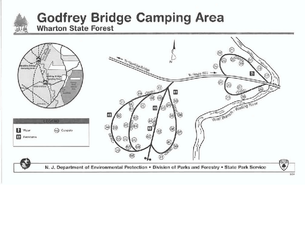 Godfrey bridge campground map hammonton nj 08037 mappery for Wharton state forest cabins